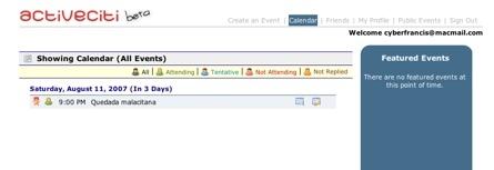 ActiveCiti, creación y administración de eventos y envíos de las invitaciones a amigos