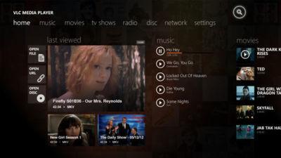 Primera maqueta de VLC para Windows 8