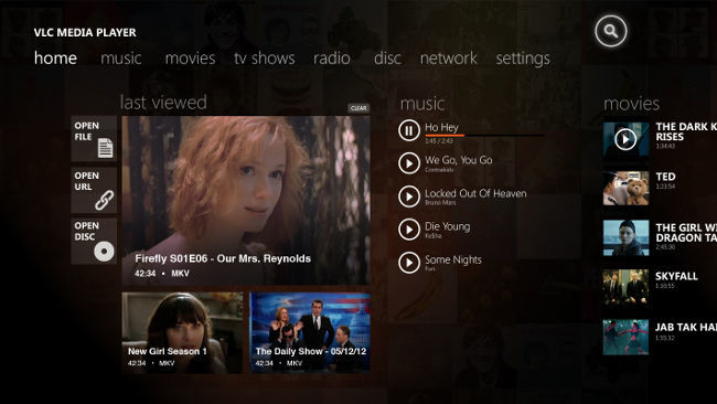 VLC para Windows 8 con interfaz Modern UI