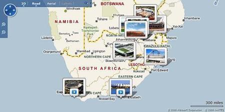 Mapa con los preparativos del Mundial de Sudáfrica 2010