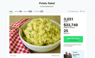 La ensalada de patata de 30.000 dólares, ¿está roto Kickstarter?