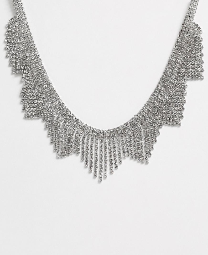 Collar extragrande con flecos de cristal de True Decadence