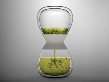 Tetera con diseño de reloj de arena