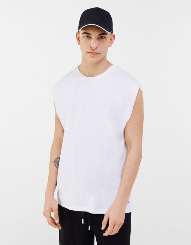 Camiseta de tirantes microwaffle con cuello redondo
