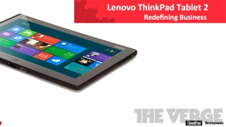 Lenovo ThinkPad Tablet 2 llegará con Windows 8, puntero y teclado