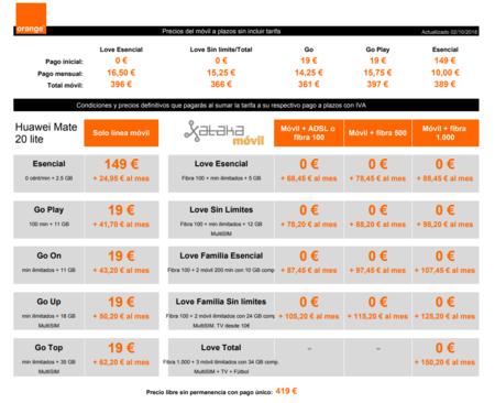 Precios Huawei Mate 20 Lite Con Tarifas Orange Y Pago A Plazos