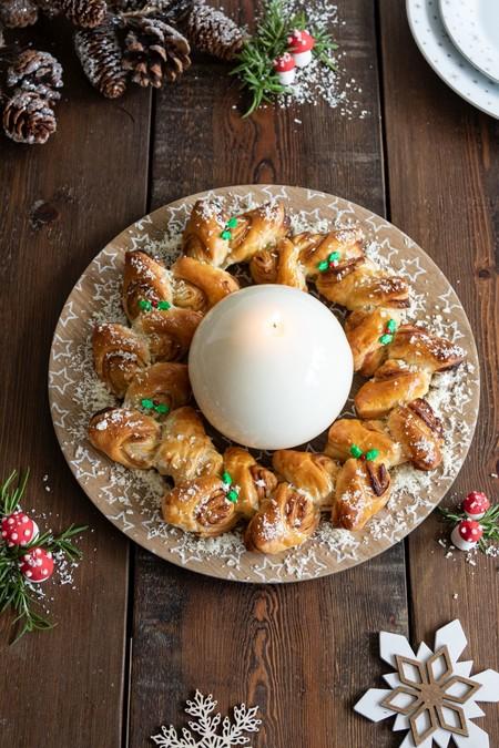 Corona De Hojaldre Relleno De Chocolate Blanco Para Navidad 2