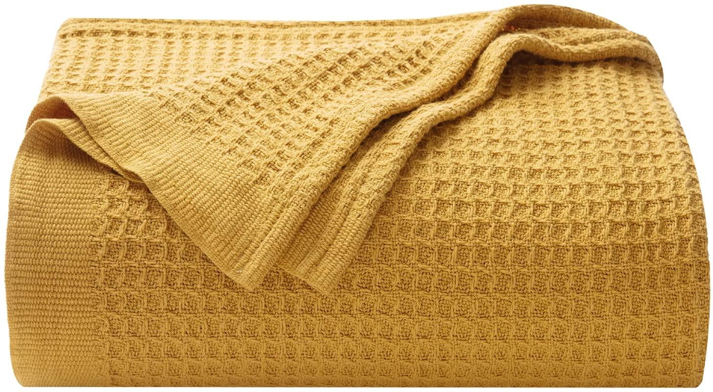Plaid de algodón 100% manta de hilo mostaza.