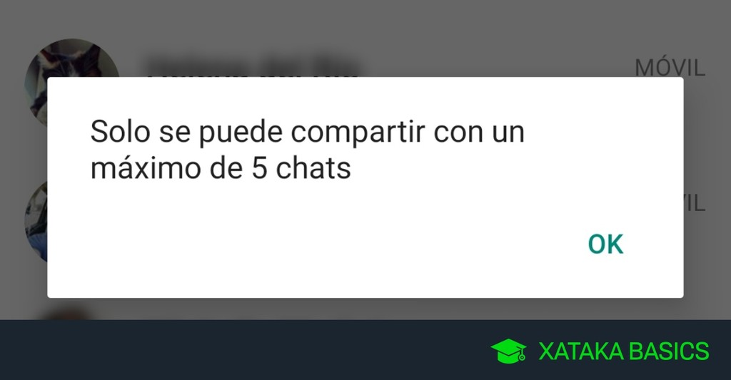 'Sólo se puede compartir con un máximo de cinco chats', por qué WhatsApp te lo dice al compartir mensajes