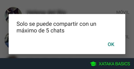 'Sólo se puede compartir con un máximo de 5 chats', por qué WhatsApp te lo dice al compartir mensajes