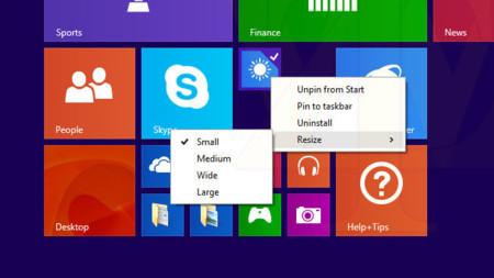 Windows 8.1 Update 1, gestión tiles