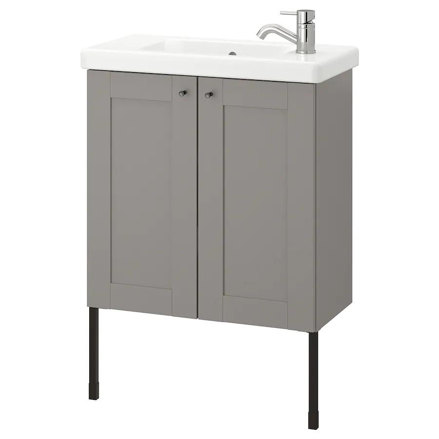 ENHET / TVÄLLEN Armario lavabo+2prtas, gris estructura/gris Pilkån grifo64x33x87 cm 165€