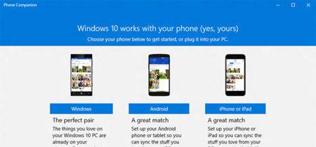 Phone Companion es la propuesta de Microsoft para que tu teléfono y Windows 10 se lleven muy bien