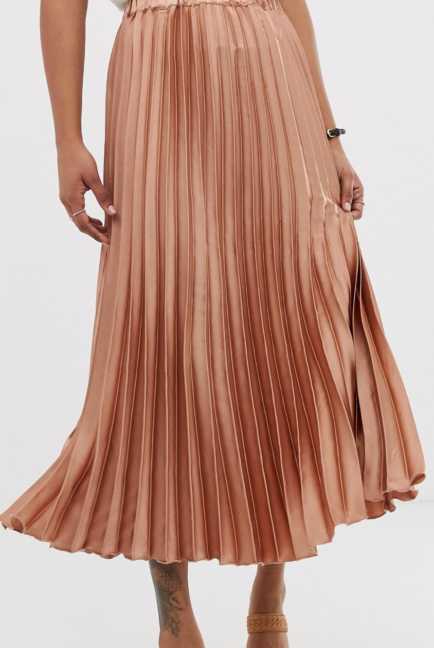 Falda midi de corte columna con diseño plisado de satén de ASOS DESIGN