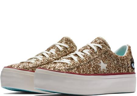 Converse X Chiara Ferragni One Star Platform Glitter