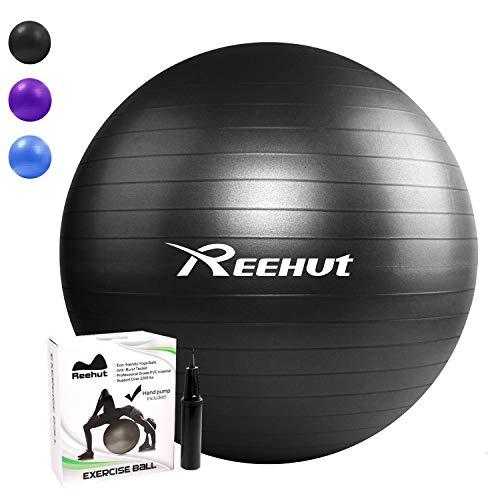 REEHUT Pelota de Ejercicio Anti-Burst para Yoga, Equilibrio, Fitness, Entrenamiento, incluidos Bomba y Manual de Usuario - Negro 55cm