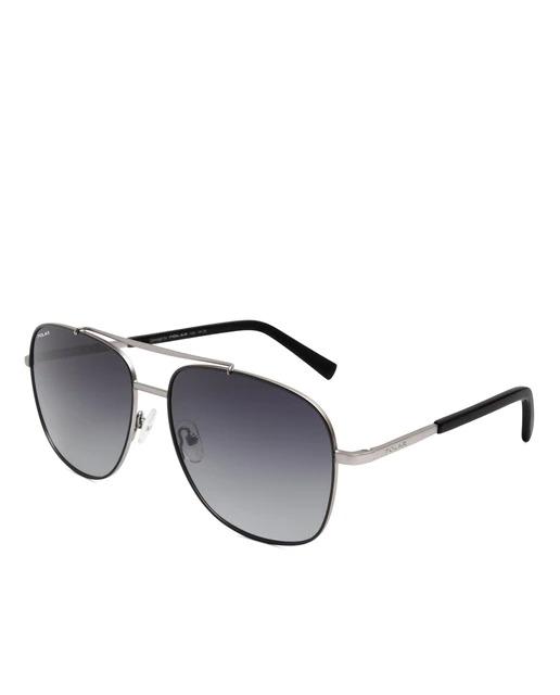 Gafas de sol de hombre Polar rectangulares de metal plateado con lentes polarizadas