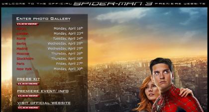 Web especial de las premiere de Spiderman 3