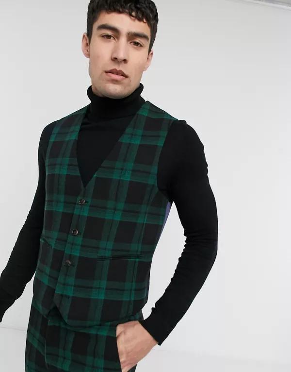 Chaleco de traje verde a cuadros escoceses muy entallado de mezcla de lana de ASOS DESIGN