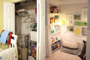 Convierte el hueco de un armario en un precioso rincón de lectura para los más pequeños