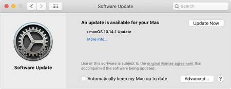 Macos Mojave System Preferences Software Update Available