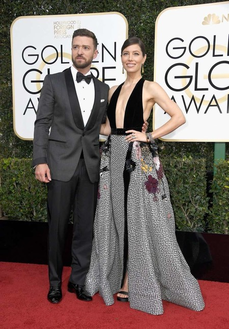 Justin Timberlake Jessica Biel Golden Globes Red Carpet Awards 2017