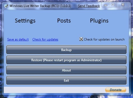 Windows Live Writer Backup, respalda la configuración de WL Writer