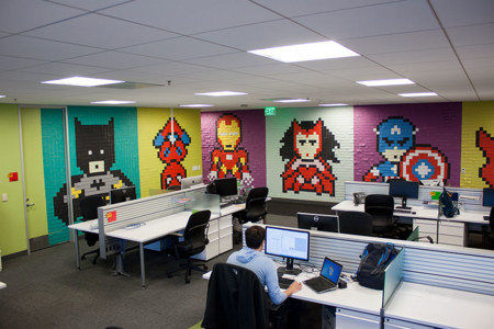 Office Wall Post It Art Superheroes Ben Brucker 21