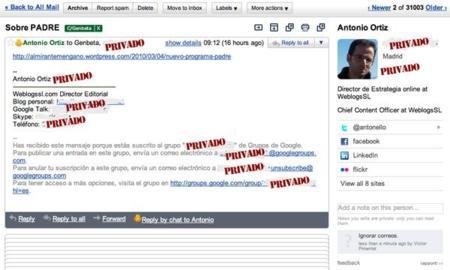 Rapportive oculta los anuncios de Gmail para mostrar la información de tus contactos