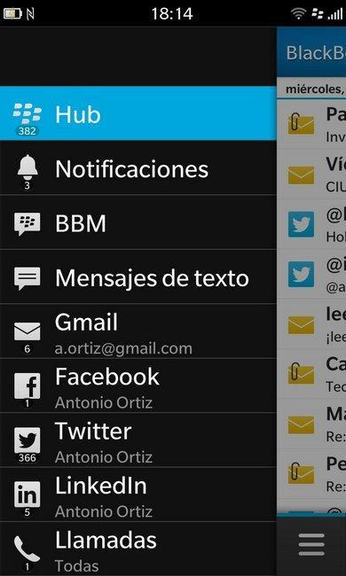 Hub blackberry 10