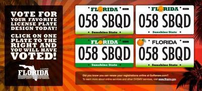 ¿Has votado ya el diseño de la matrícula de Florida?