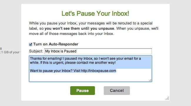 inbox pause gmail correo