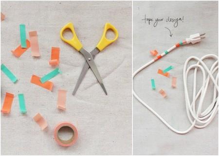 Decorar cable con washi tape