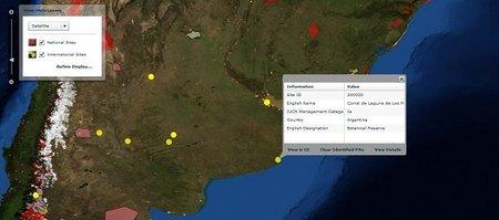 Mapa interactivo de los espacios naturales protegidos en el mundo entero
