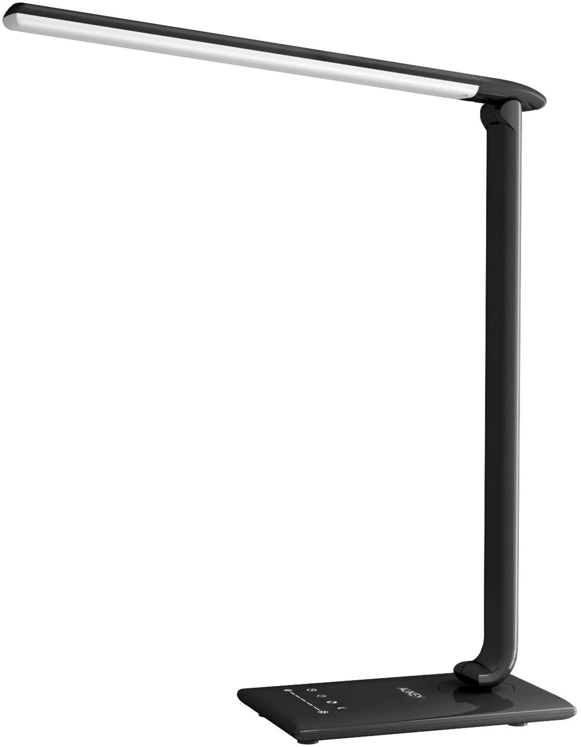 AUKEY LT-T10 Lámpara Escritorio, Flexo LED con 5 Modos, 7 Niveles de Brillo, Puerto USB de Carga, Mini Luz Nocturna y Múltiples Ángulos Ajustables, Control Táctil [Clase de eficiencia energética A]