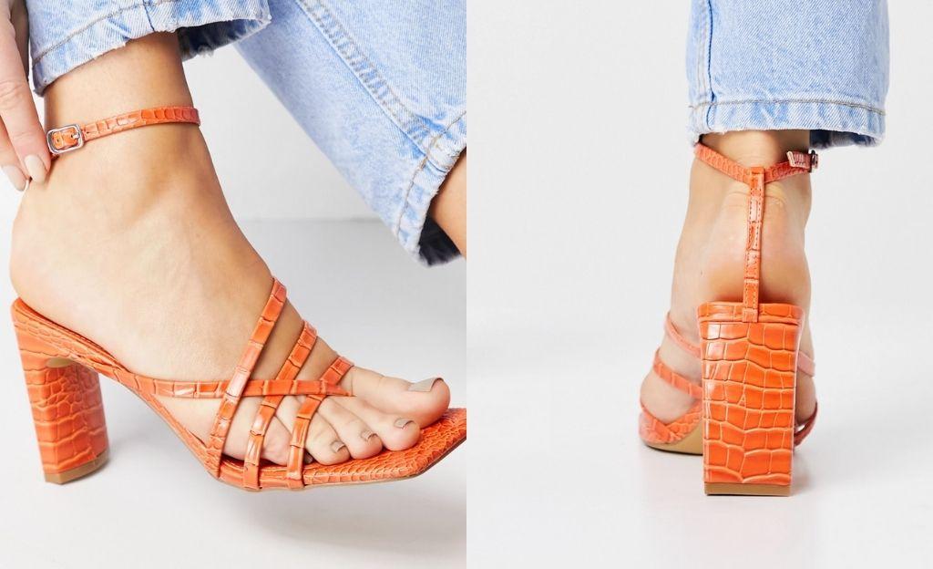 Sandalias naranjas de estilo cocodrilo con tacón cuadrado Charms de Public Desire