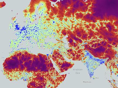 El tiempo que tardas en llegar a una ciudad desde cualquier lugar del mundo, ilustrado en este mapa