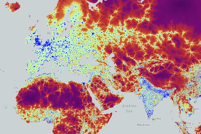 El tiempo que se tarda en llegar a una ciudad desde cualquier lugar del mundo, ilustrado en un mapa
