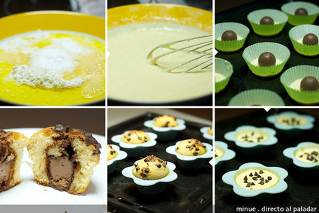 magdalenas rellenas de chocolate - elaboración