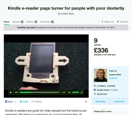 Un pasa páginas de Kindle para gente con poca destreza