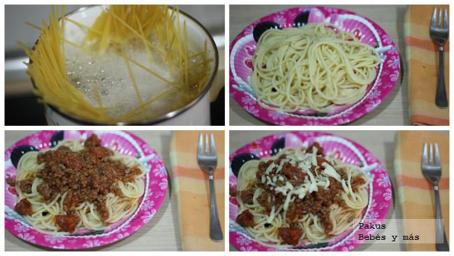 montando plato espaguetis especiales para niños