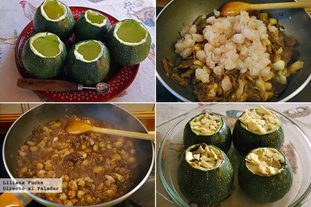 Calabacines redondos rellenos de boletus y gambones. Pasos de la receta