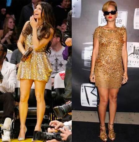 Look vestido dorado corto