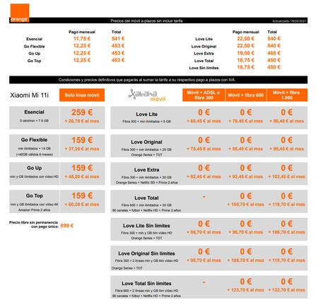 Precios Xiaomi Mi 11i A Plazos Con Tarifas Orange