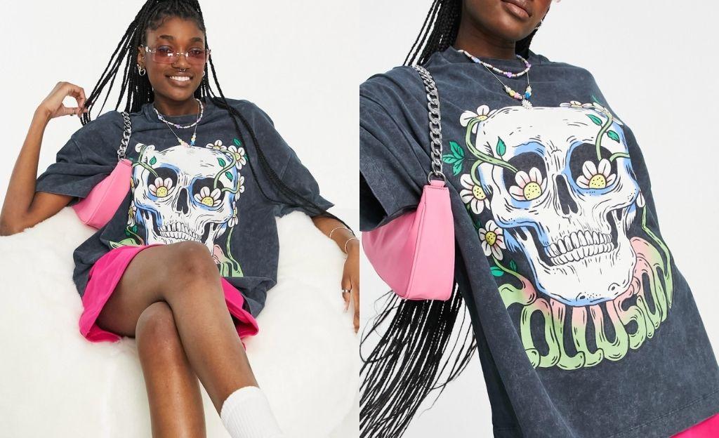 Camiseta unisex extragrande con diseño estampado en piqué con lavado ácido negro de COLLUSION