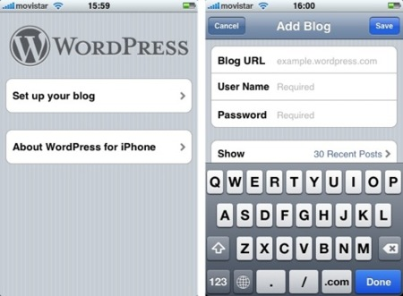 Wordpress para iPhone ya disponible en la AppStore