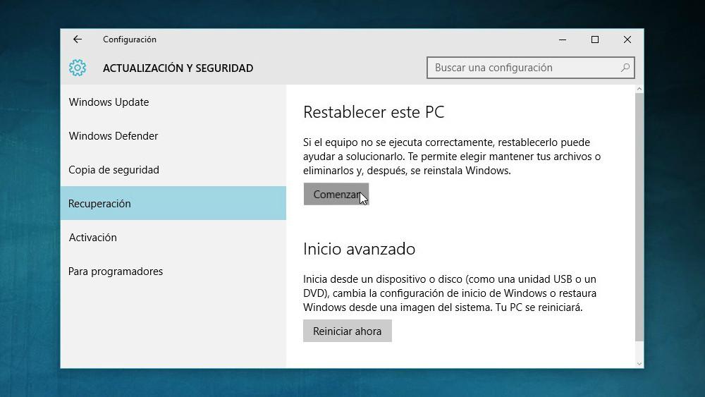 Restablecer Windows 10