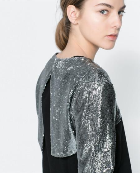 Bolero lentejuelas plateadas Zara Invierno 2013 espalda abierta