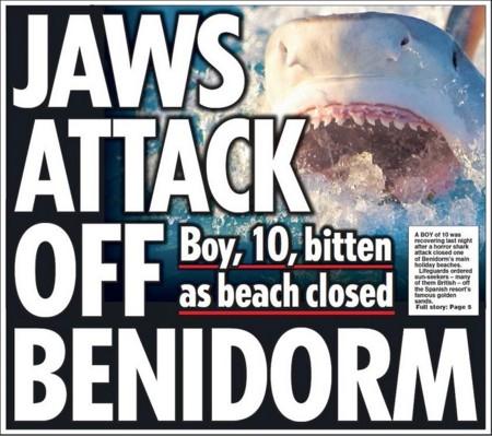 Tiburones en Benidorm y otras 11 portadas inauditas de los tabloides