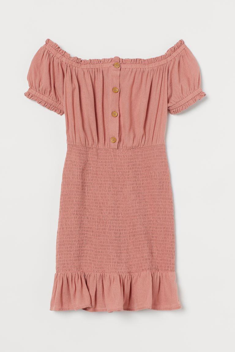Vestido fruncido de algodón de H&M